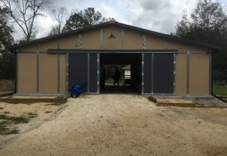 Gable-Roofed Barns - Single-Level Breezeway Barn with Gable Roof