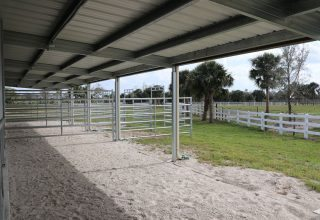 Stalls & Pens - Covered Overhang outside of Horse Stalls