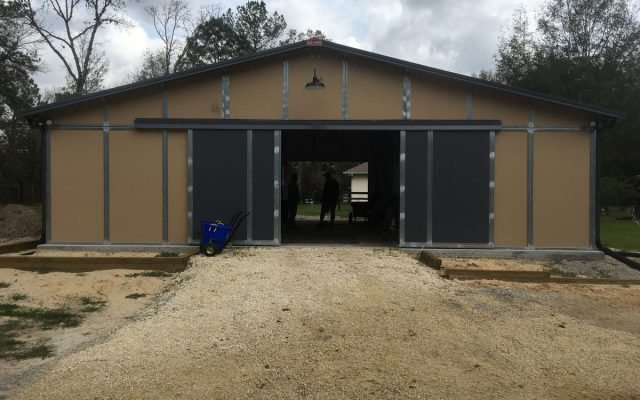 Gable Horse Barn with Open Sliding Breezeway Doors